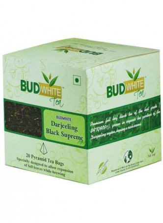 BudWhiteTeas Darjeeling Black Supreme Tea (20 Pyramid Tea Bags)