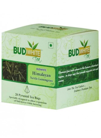 BudWhiteTeas Himalayan Nettle-Lemongrass Herbal Tea (20 Pyramid Tea Bags)