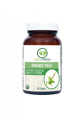 Geo-Fresh Organic Tulsi Tablet ( 90 Tablets ) - 750 mg - USDA Certified
