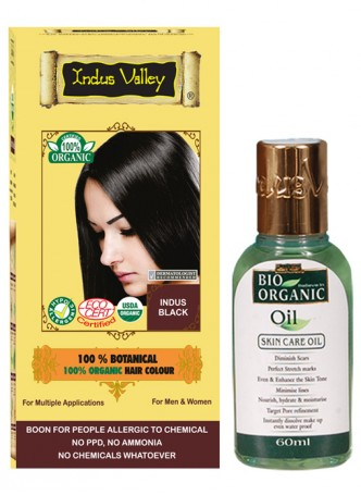 Indus Valley 100% Organic Botanical Indus Black Herbal Hair Color with Bio Organic Oil Combo