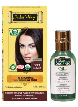 Indus Valley 100% Organic Botanical Soft Black Hair Color with Bio Organic Oil Combo