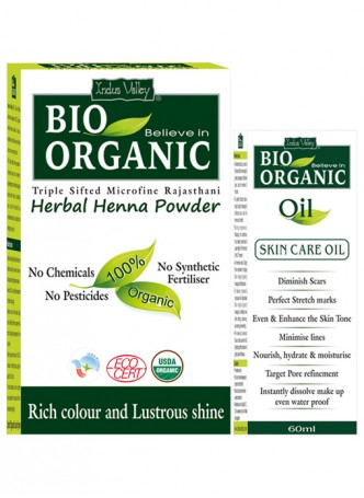 Indus Valley Bio Organic Oil and Herbal Henna Powder Combo