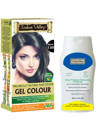 Indus Valley Organically Natural Gel Black Hair Color and Colour Protective Shampooing Conditioner Combo