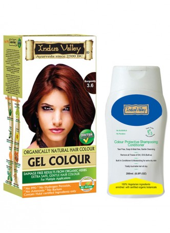 Indus Valley Gel Burgundy Hair Color and Colour Protective Shampooing Conditioner Combo