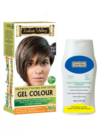 Indus Valley Gel Organically Natural Medium Brown Hair Color and Shampooing Conditioner Combo