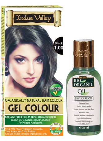 Indus Valley Gel Black 1.00 Hair Color with Bio Organic Oil Combo Pack