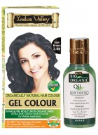 Indus Valley Organically Natural Gel Dark Brown 3.00 Herbal Hair Color with Bio Organic Oil Combo
