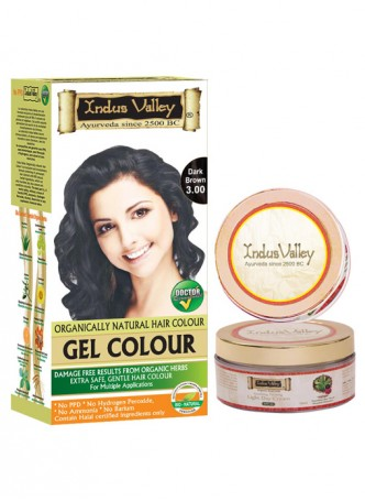 Indus Valley Organically Natural Gel Dark Brown 3.00 Permanent Hair Color with Light Day Cream