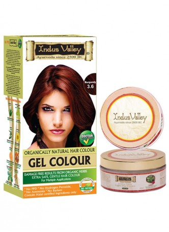 Indus Valley Organically Natural Gel Burgundy 3.6 Hair Color with Light Day Cream