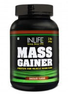 Inlife Mass Gainer Powder (2 lb / 908 grams), Chocolate Flavor For Muscle & Weight Gain