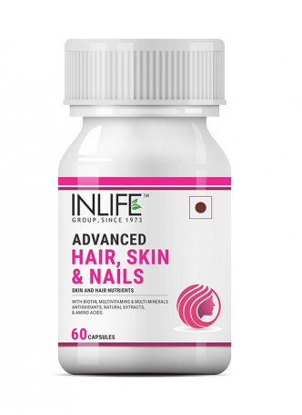 INLIFE Biotin Advanced Hair Skin And Nails Supplement  for Hair Growth – 60 Capsules