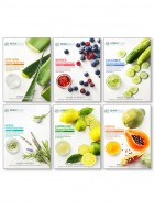 Mirabelle Korea Fairness Facial Mask (Aloevera, Berries, Cucumber, Herbs, Lemon, Papaya - Combo pack of 6)