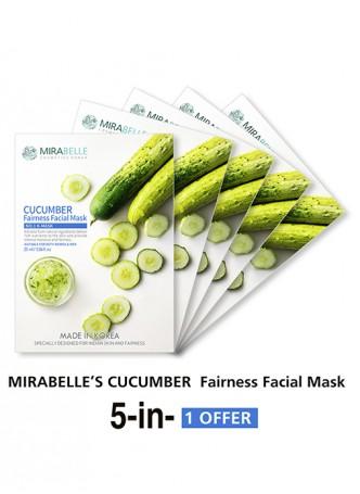 Mirabelle Korea Cucumber Fairness Facial Mask (Pack of 5)