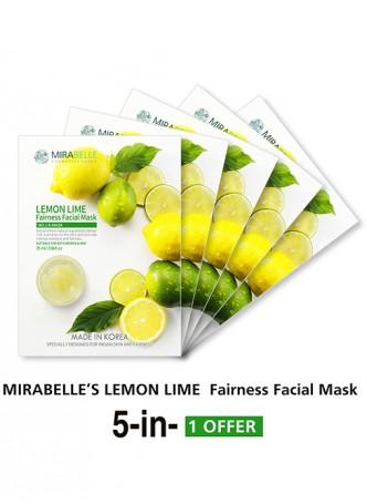 Mirabelle Korea Lemon Fairness Facial Mask (Pack of 5)