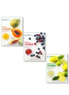 Mirabelle Korea Fairness Facial Mask (Papaya, Berries, Lemon - Combo pack of 3)