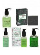Natural Vibes - Ayurvedic Tea Tree and Activated Charcoal - Anti acne, Anti dandruff and hair fall treatment ( 1 face serum, 1 face wash, 1 hair serum, 1 shampoo and 1 scrub soap )