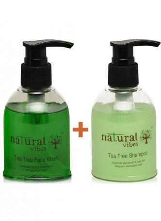 Natural Vibes Ayurvedic Tea Tree Face Wash and Shampoo everyday treatment
