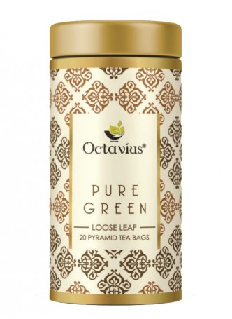 Octavius Pure Green Tea, Whole Leaf, Pyramid Tea Bags
