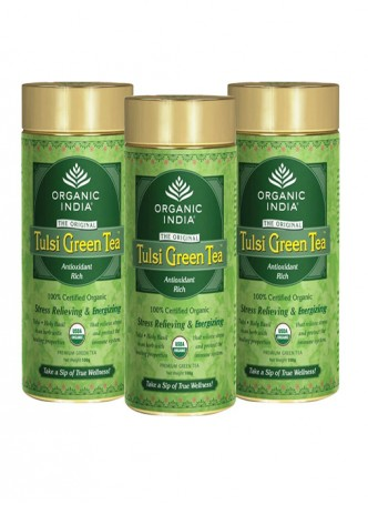 Organic India Tulsi Green Tea - 100g Tin (Set of 3)