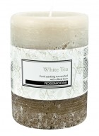 Rosemoore White and Brown White Tea Scented Pillar Candle