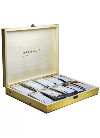 Tea Treasure Pine Wood Tea Chest