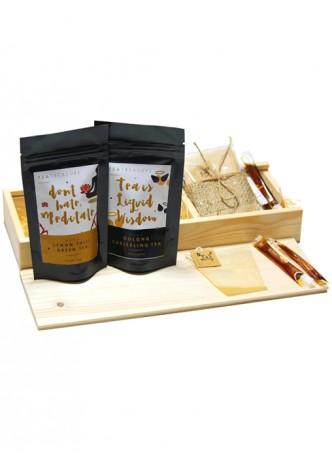 Tea Treasure Combo (Lemon Tulsi & Oolong Darjeeling Tea) - Wood Box