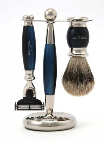 Truefitt And Hill Edwardian Set Blue - Brush - Machiii Razor - Stand