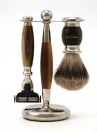 Truefitt And Hill Edwardian Set Brown - Brush - Machiii Razor - Stand