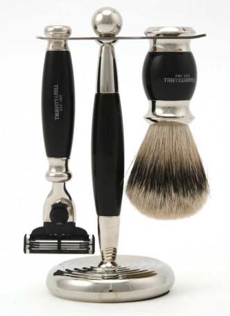 Truefitt And Hill Edwardian Set Black - Brush - Machiii Razor - Stand