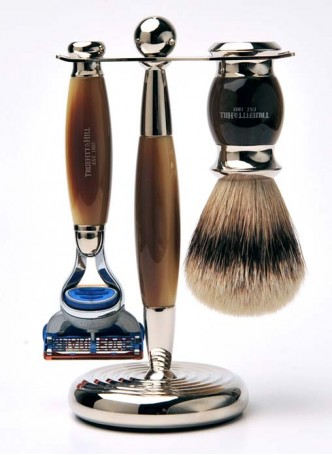 Truefitt And Hill Edwardian Set Brown - Brush - Fusion Razor - Stand