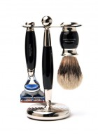 Truefitt And Hill Edwardian Set Black -  Brush - Fusion Razor - Stand