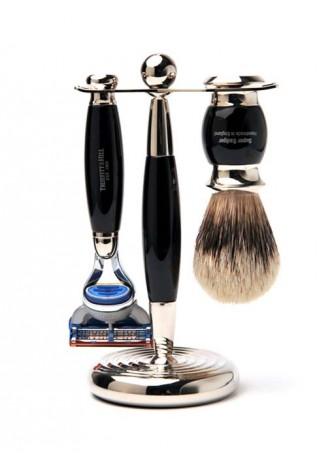 Truefitt And Hill Edwardian Set Black -  Brush - Fusion Razor - Stand