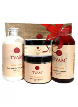 Tvam Gift Pack - Body Care (Shower Gel, Foot Massage Cream, Body Polisher and Body Lotion)