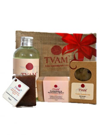 Tvam Gift Pack - Bath Care (3 Handmade Soaps and Shampoo)
