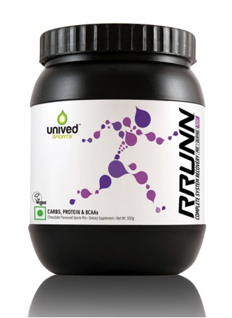Unived RRUNN Post Recovery Sports Drink Mix, Complete System Recovery, Chocolate Flavour, 500 Grams