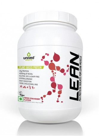 Unived LEAN Pea Protein Isolate Powder, Strawberry Flavour, 1.142 Kg