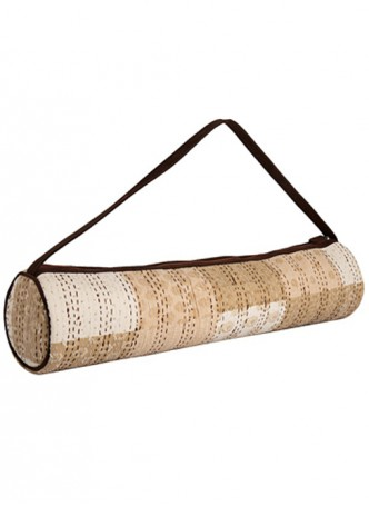 Woods and Petals Yoga Mat Bag Hand Block Print Patchwork with Kantha Embroidery - Beige, White and Brown