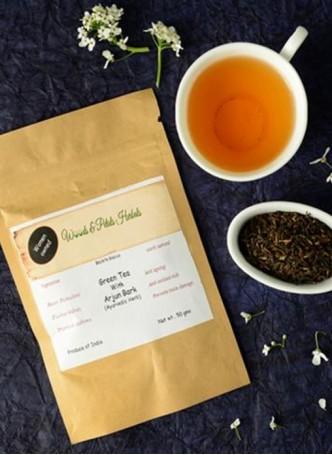 Woods and Petals Darjeeling Green Tea with Arjun Bark Loose-100gm (Pack of 2)