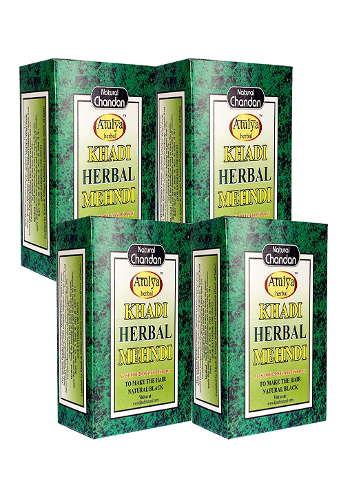 Khadi Natural Herbal Black Mehndi - 100g Set Of 4