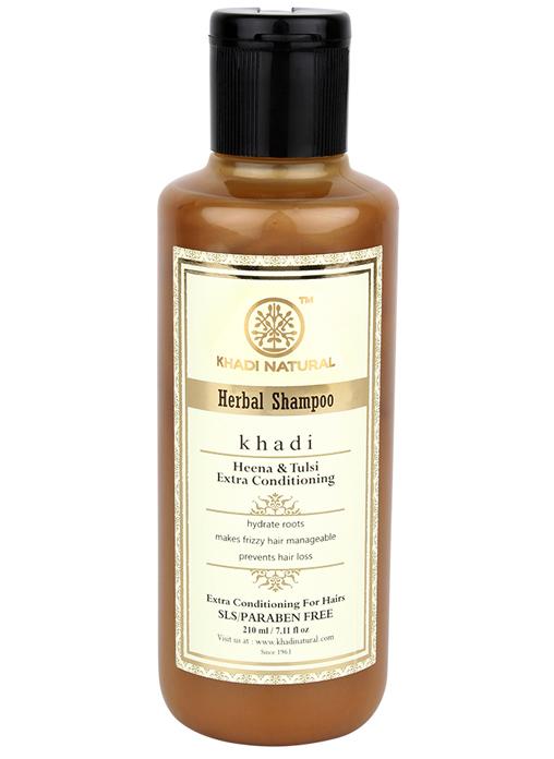 Khadi Natural Herbal Henna Tulsi Extra Conditioning Shampoo- Sls and Paraben Free
