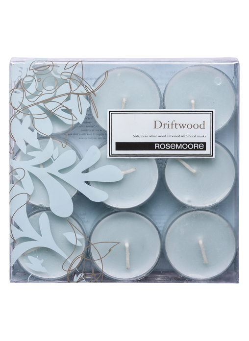 Rosemoore White Driftwood Scented Tea Lights