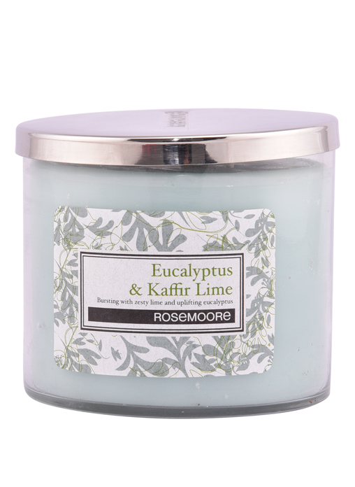 Rosemoore Green Eucalyptus and Kaffir Lime Scented Glass Candle Medium